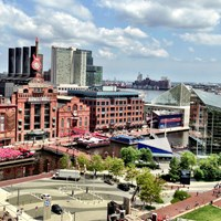 Photo looking down at Baltimore\'s Inner harbor with a view of the old power plant.