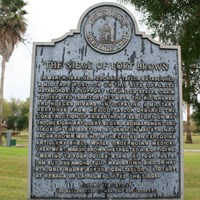 Metal historical marker for Fort Brown