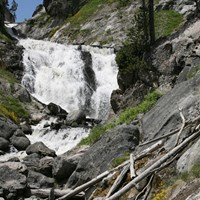 Water cascades down across gray boulders with yellow wildflowers in bloom.