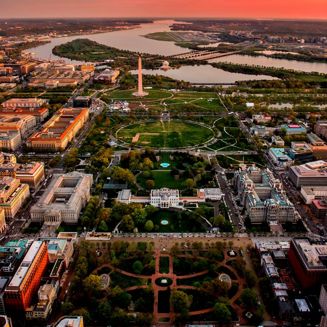 Aerial view of National Mall and Memorial Parks.