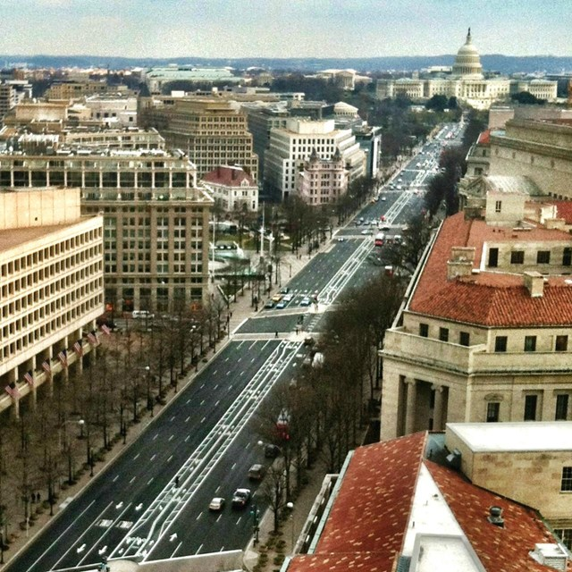Aerial view of Pennsylvania Avenue.