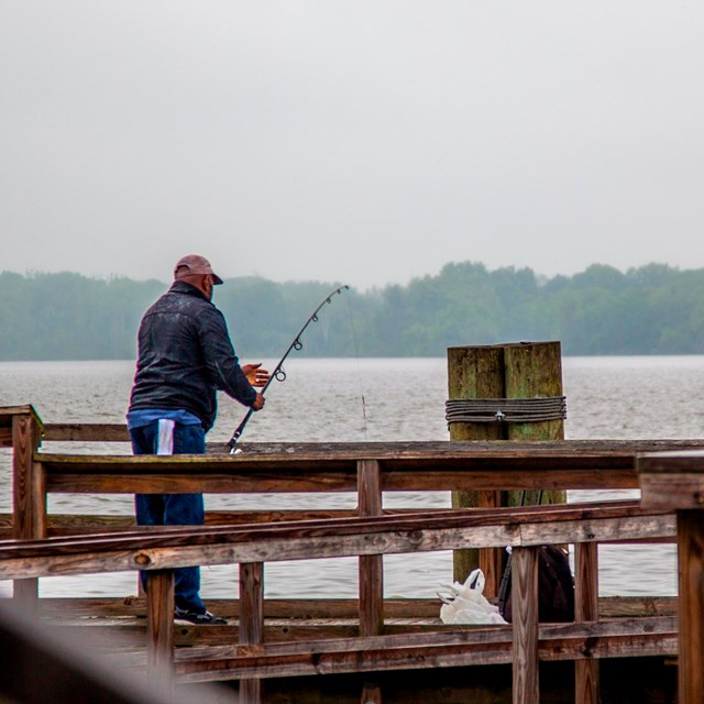 Recreational fishing on the pier.