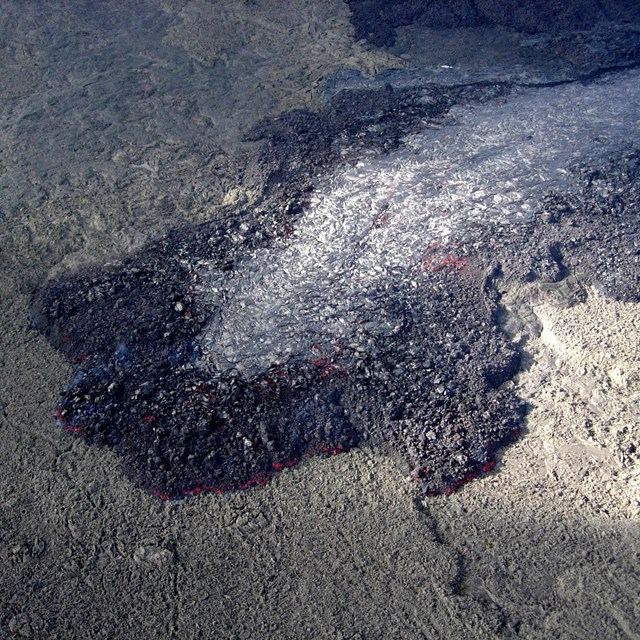 End of an active lava flow