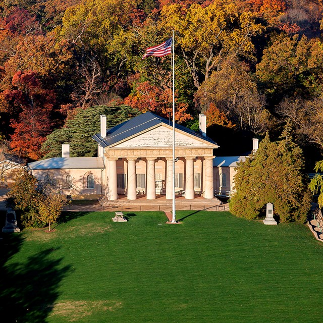 Aerial view of Arlington House in the fall.