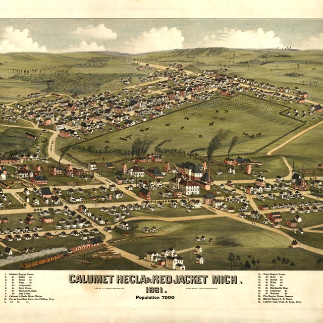 Historic, colored, illustrated map of the Village of Red Jacket and surrounding area in 1881.