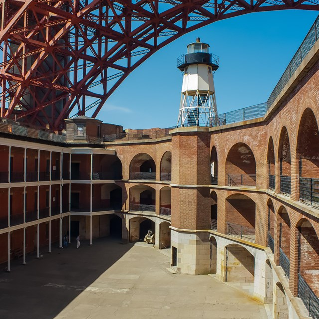 Inside view of the fort with golden gate bridge overhead