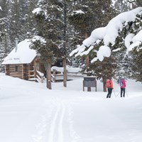 The Indian Creek Loop Ski Trail follows campground roads taking skiers by the registration building.
