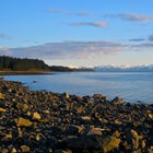 bartlett cove shoreline, with mountains in the distance