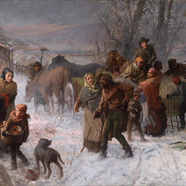 Painting of Freedom Seekers being helped by abolitionists on Underground Railroad