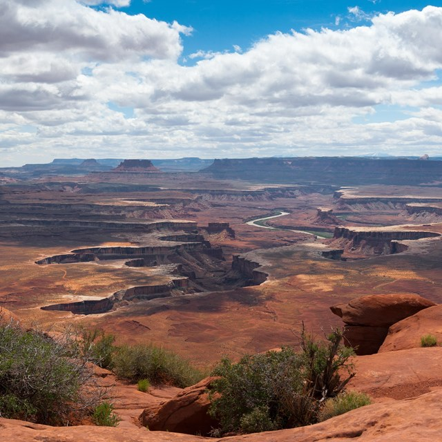 A broad view with multiple canyons and white clouds in the sky overhead