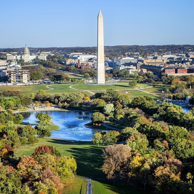 Aerial view of Constitution Gardens and the Washington Monument.