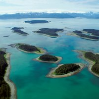 an aerial image of the beardslee islands on a clear day