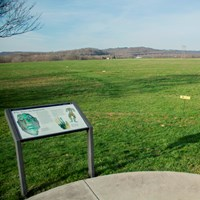 Two interpretive signs in the foreground with a large green field in the background
