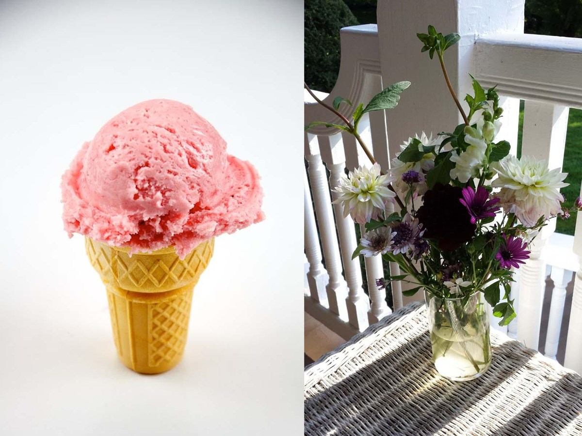 ice cream cone and flower bouquet