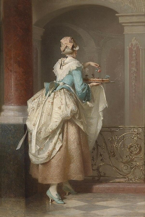 Color painting of a woman dressed in light blue and pink, carrying a birthday cake through a room.