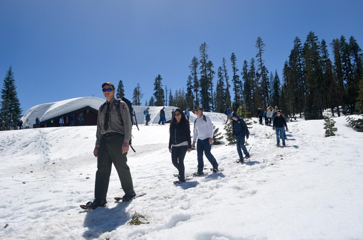 A ranger leads a group of people on snowshoes down a snow-covered slope