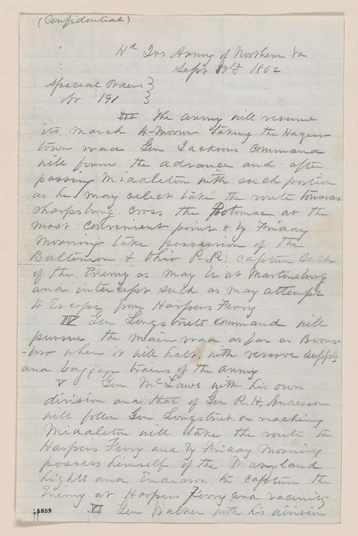 Blue lined paper containing Robert E. Lee's orders for the 1862 Maryland Campaign