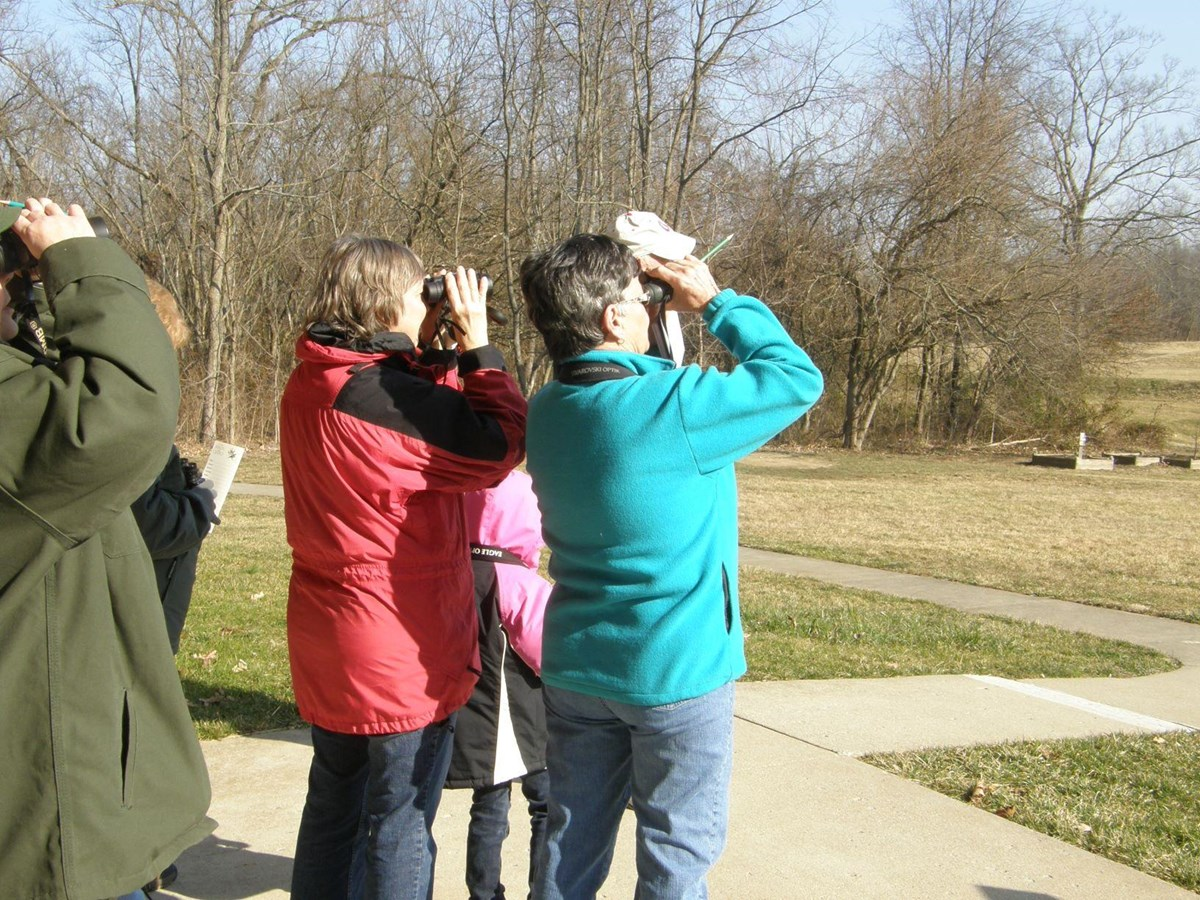 A small group of adults and children look into binoculars, searching for birds