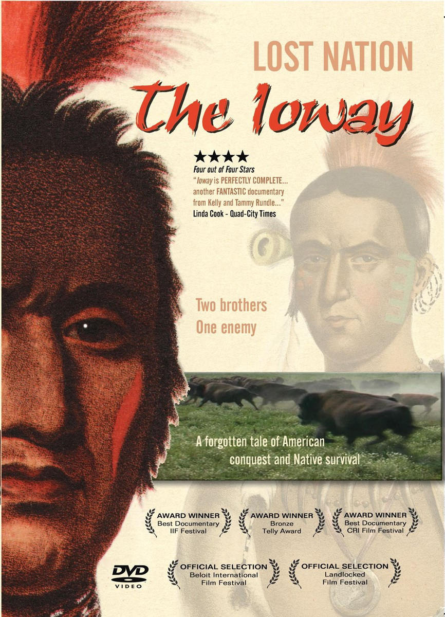 Image of film poster that depicts a painting of a male member of the Ioway tribe