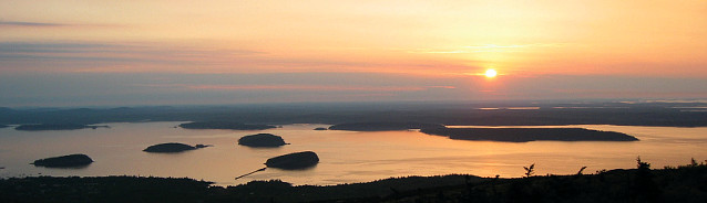 Sunrise from Cadillac Mountain overlooking Frenchman Bay.