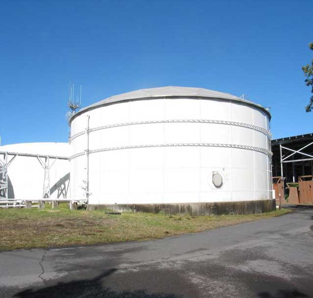 Two of the large water tanks that store rainwater at Hawai'i Volcanoes National Park