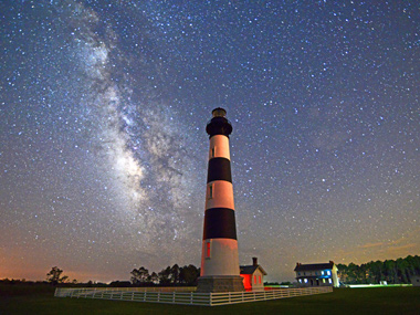 The Milky Way visible at the Bodie Island Lighthouse on a clear night.