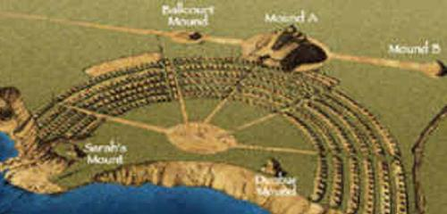Integrated complex of earthen mounds, enormous concentric ridges, and a large plaza,