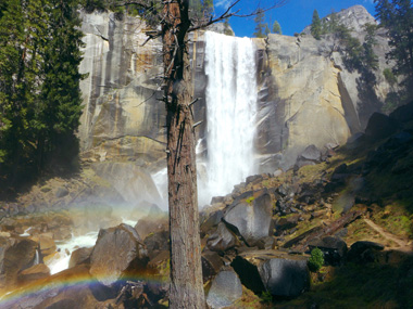 Vernal Fall with rainbow in foreground