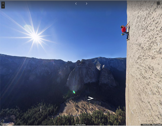 Tommy Caldwell climbing on the Dawn Wall route on El Capitan