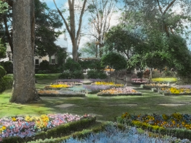 Colorized photo of Chatham's gardens in 1920s