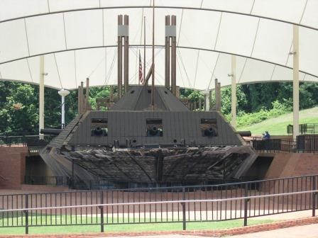 Front view of the USS Cairo under the protective tent