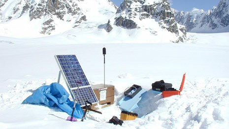 Audio recording equipment monitors sounds in a remote location of Denali National Park & Preserve