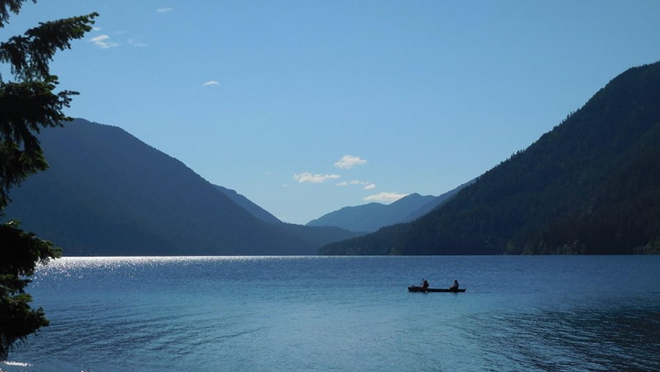 Canoe on Lake Crescent, Olympic National Park