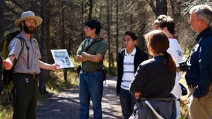 Park ranger giving a talk to visitors