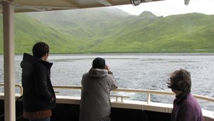 A view of Attu and boat passengers from the deck of a boat.
