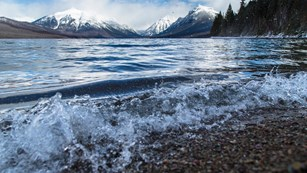 Water rushing onto shore at Lake Clark National Park.