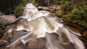 Big Thompson River rushes by at Rocky Mountain National Park.