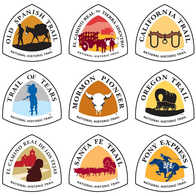 Collage of nine national historic trail logos each with a colored icon and the trail's name