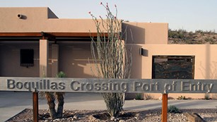 Boquillas Crossing Port of Entry sign in front of building