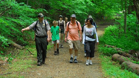 A ranger leads hikers on a forest trail.