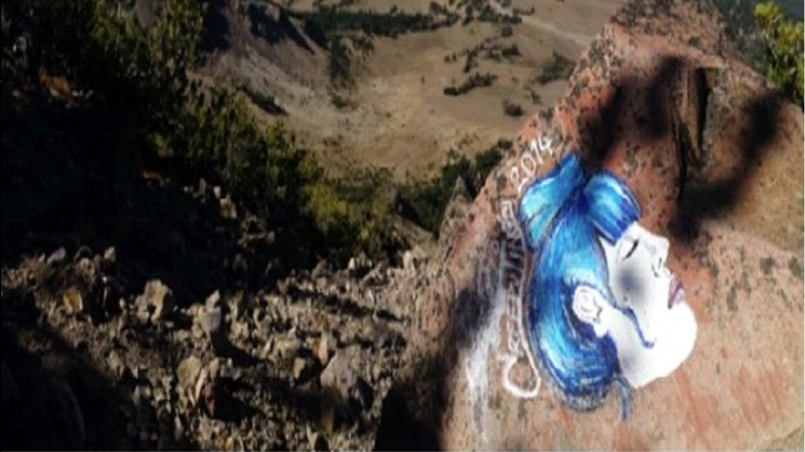 Vandalism at Crater Lake National Park. Image seized by the Investigative Services Branch.