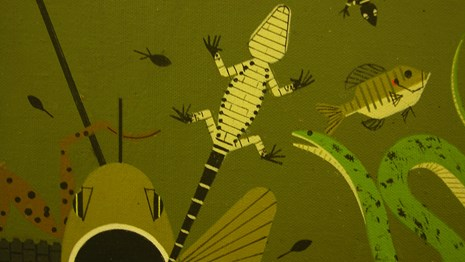 Detail of Charley Harper painting of Everglades animals
