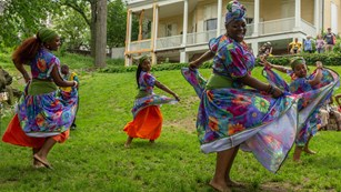 Caribbean dancers at Alexander Hamilton's home
