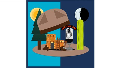 A drawing of a hat splitting open to find a pueblo, microphone, and saguaro cactus inside.