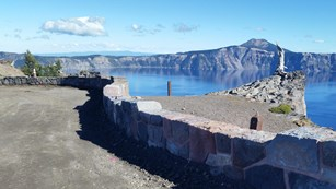 new stone wall at the Glacial Valley overlook in Crater Lake