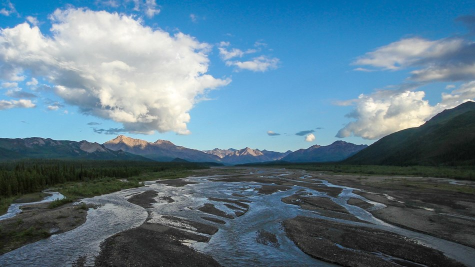a braided river flowing from distant mountains