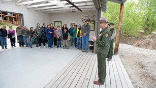 park staff speaks to community