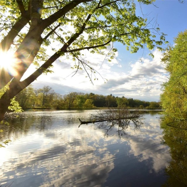 A scenic picture of the Nashua River. Photo courtesy Nashua River Watershed Association.