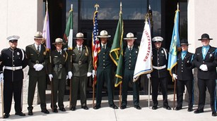 USFS, CalFire, BLM and NPS wildland fire honor guard members.
