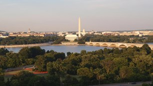 View across the Potomac toward the national mall from the NPS air quality webcam in Washington DC